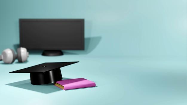 3d-wiedergabe der nahaufnahme-abschlusskappe, des buches, des computersatzes auf weißem hintergrund. realistische 3d-formen. online-bildungskonzept. komm zurück zur schule.