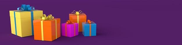 3d-wiedergabe der realistischen geschenkbox mit bandschleife auf lila hintergrund