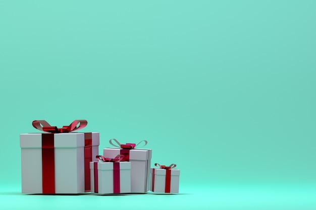 3d-wiedergabe der realistischen geschenkbox mit buntem bogen