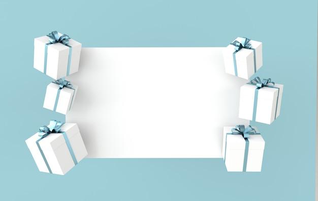 3d-wiedergabe der realistischen weißen geschenkbox mit blauem bandbogen und weißem papier auf blauem hintergrund