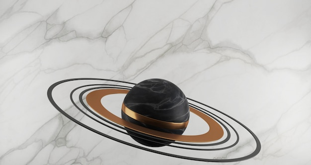 3d-wiedergabe der schwarzen marmorkugel und der goldenen ringe wie planet lokalisiert auf weißem marmorhintergrund, goldener ring, rundes, abstraktes minimalkonzept, leerraum, luxus-minimalist