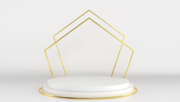 3d-wiedergabe der weißen und goldenen farbe mit minimalem und abstraktem hintergrund. bühnenshow mit form und geometrie.