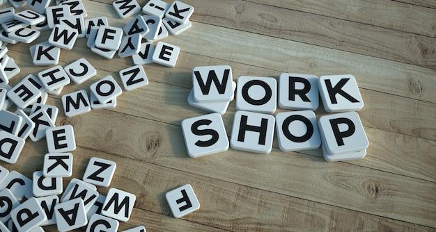 3d-wiedergabe der werkstatt der wörter, die auf buchstabenfliesen auf einem hölzernen parkett geschrieben wird