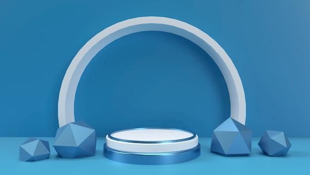 3d-wiedergabe des abstrakten geometrischen hintergrunds, der szene, des podiums, der bühne und der anzeige. blaue und weiße farbe.