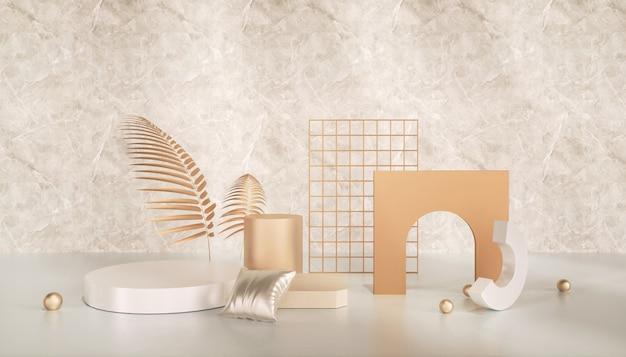 3d-wiedergabe des abstrakten geometrischen hintergrunds für produktanzeige