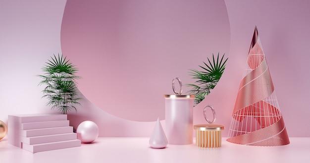 3d-wiedergabe des abstrakten geometrischen hintergrunds mit grünen pflanzen für produktanzeige