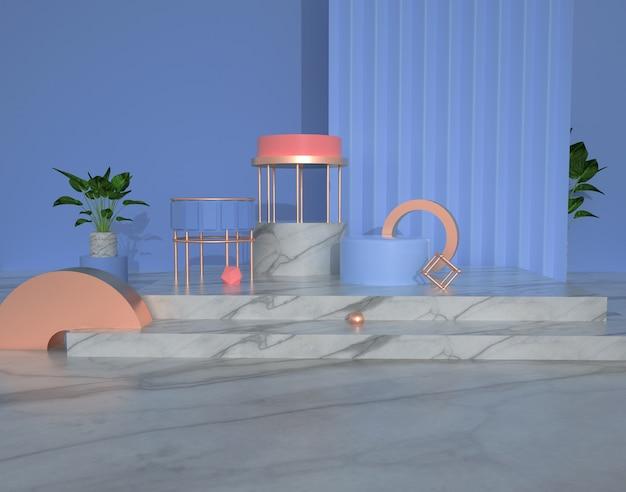 3d-wiedergabe des abstrakten geometrischen hintergrunds mit marmorpodest für produktanzeige