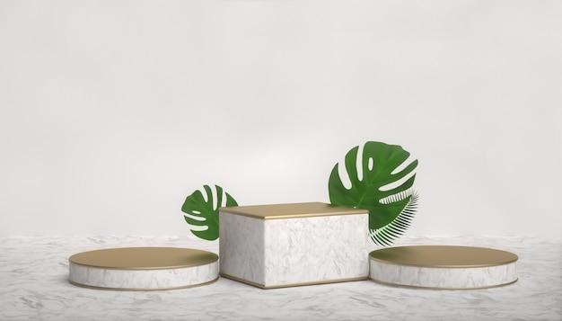 3d-wiedergabe des abstrakten geometrischen hintergrunds mit pflanzendekoration für produktanzeige
