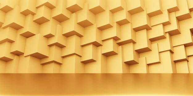 3d-wiedergabe des abstrakten geometrischen minimalen konzepthintergrunds des leeren goldes. szene für werbung