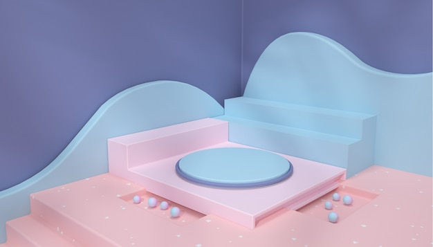 3d-wiedergabe des abstrakten geometrischen plattformhintergrunds für mit sockelproduktanzeige