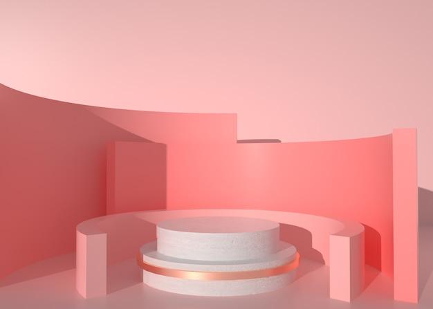 3d-wiedergabe des abstrakten kreisförmigen hintergrunds für kosmetische anzeige
