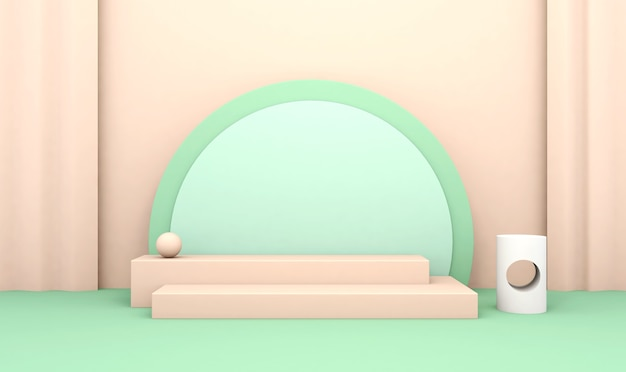 3d-wiedergabe des abstrakten kreisförmigen hintergrunds mit podium für produktanzeige