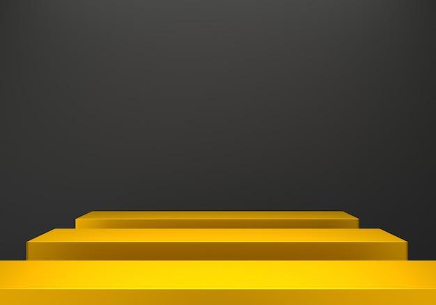 3d-wiedergabe des abstrakten minimalen schwarzen hintergrunds des goldpodiums abstrakt.