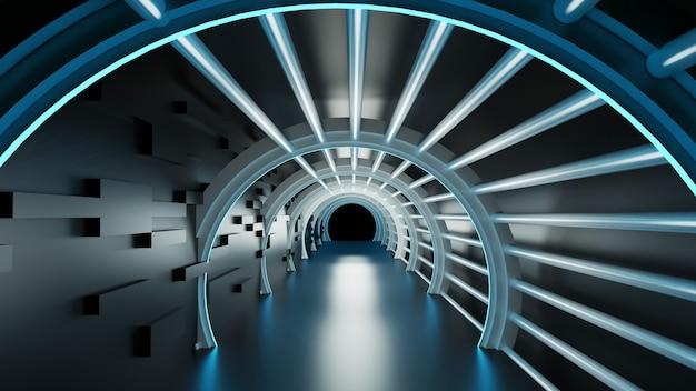 3d-wiedergabe des abstrakten modernen tunnels