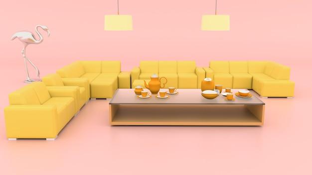 3d-wiedergabe des abstrakten raumes mit sofa für produktanzeige