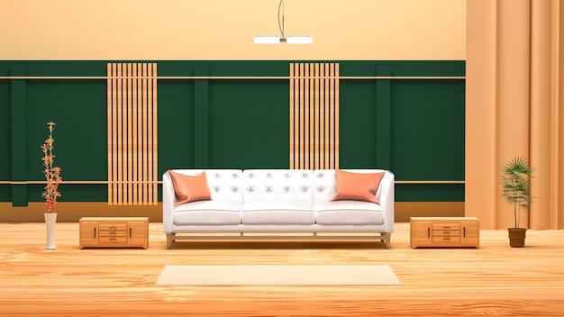 3d-wiedergabe des abstrakten raumes mit weißem sofa für produktanzeige