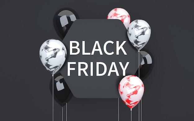 3d-wiedergabe des abstrakten schwarzen freitaghintergrundes mit den bunten luftballons