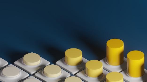 3d-wiedergabe des gelben zunehmenden blauen hintergrunds des gelben graphen, abstraktes minimales konzept, luxus-minimalist
