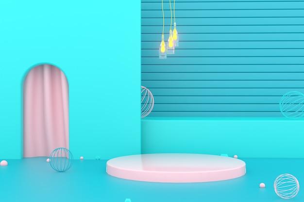 3d-wiedergabe des geometrischen abstrakten blauen hintergrunds mit kreisförmigem podium für modellanzeige