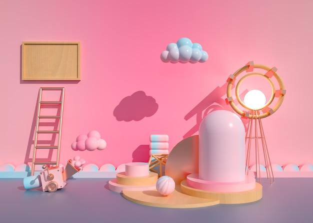 3d-wiedergabe des geometrischen abstrakten hintergrunds mit kinderspielzimmer