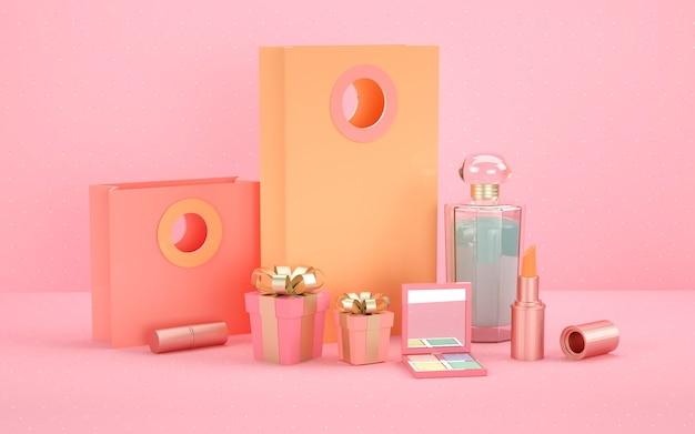3d-wiedergabe des geometrischen abstrakten hintergrunds mit kosmetikflasche für modellanzeige