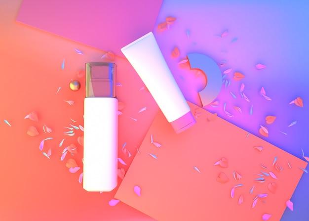 3d-wiedergabe des geometrischen abstrakten hintergrunds mit kosmetischer creme für modellanzeige