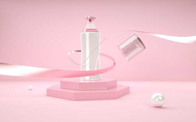 3d-wiedergabe des geometrischen abstrakten hintergrunds mit parfümflasche für modellanzeige