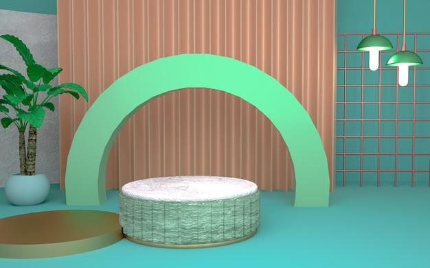 3d-wiedergabe des geometrischen abstrakten hintergrunds mit pflanzendekorationen für produktanzeige