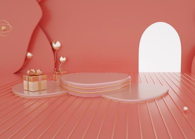 3d-wiedergabe des geometrischen abstrakten hintergrunds mit romantischem podium für produktanzeige