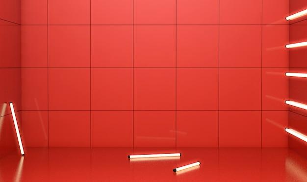 3d-wiedergabe des geometrischen abstrakten roten hintergrunds für produktanzeige