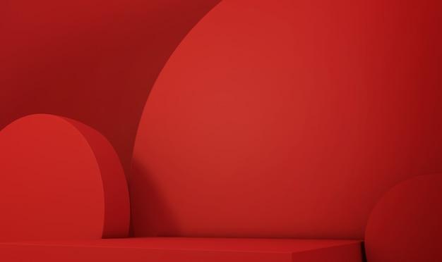 3d-wiedergabe des geometrischen abstrakten roten hintergrunds