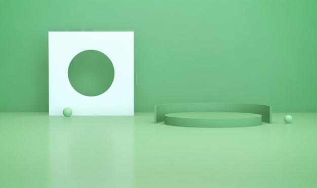 3d-wiedergabe des geometrischen formhintergrunds mit goldenem podium für produktanzeige