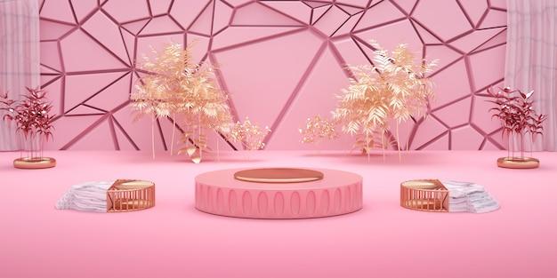 3d-wiedergabe des geometrischen rosa hintergrunds mit podium für produktanzeige Premium Fotos