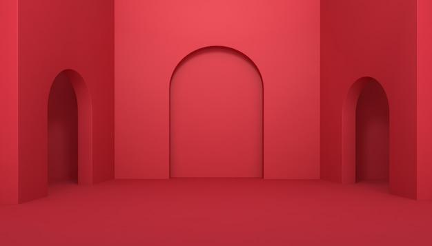 3d-wiedergabe des geometrischen roten bühnenhintergrunds für produktanzeige
