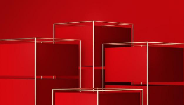 3d-wiedergabe des geometrischen roten bühnenhintergrunds mit podium für produktanzeige