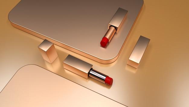 3d-wiedergabe des goldenen hintergrundlippenstifts mit für produktanzeige