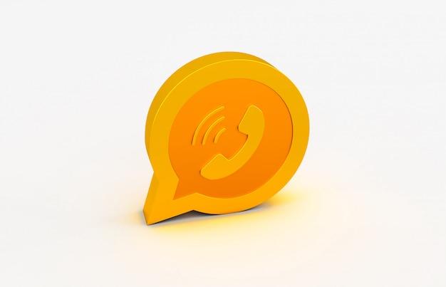 3d-wiedergabe des goldenen whatsapp-logos lokalisiert auf weißem hintergrund