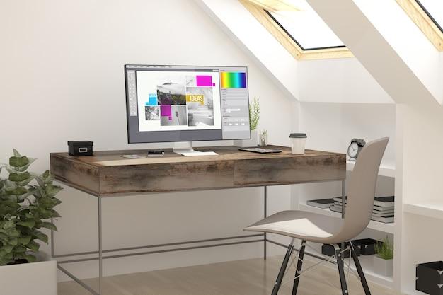 3d-wiedergabe des grafikdesigns des dachbodenarbeitsplatzes