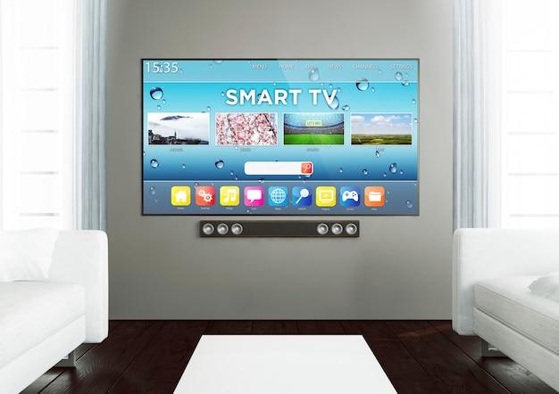 3d-wiedergabe des intelligenten fernsehens auf einem hölzernen wohnzimmer