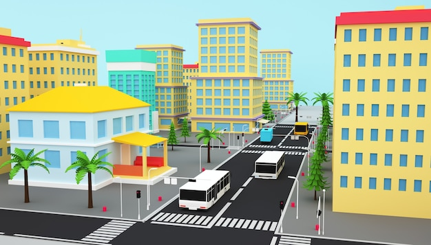 3d-wiedergabe des isometrischen geschäftsstadtkonzepts mit autobahn