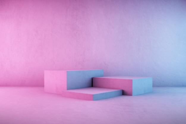 3d-wiedergabe des konkreten podiums auf neonlichthintergrund.