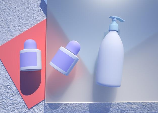 3d-wiedergabe des kosmetischen produkts mit abstraktem geometrischem hintergrund