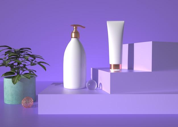 3d-wiedergabe des kosmetischen produkts mit geometrischem formhintergrund für produktanzeige