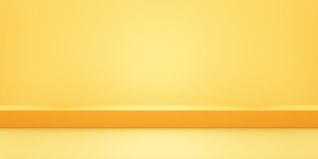 3d-wiedergabe des leeren abstrakten geometrischen minimalen konzepthintergrunds der gelben orange.