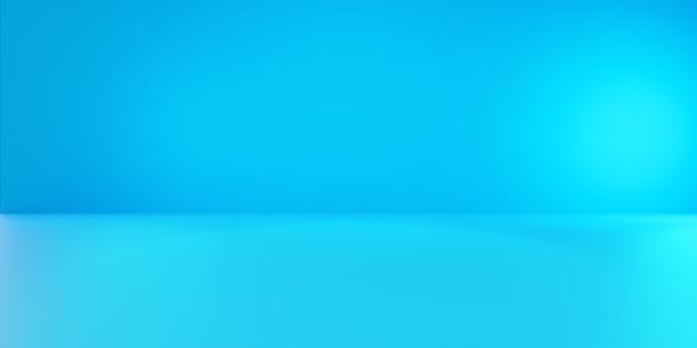 3d-wiedergabe des leeren blauen abstrakten minimalen konzepthintergrunds