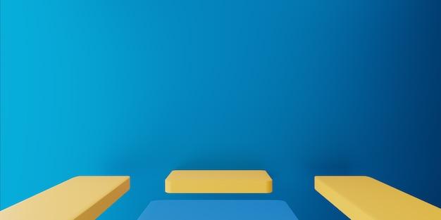 3d-wiedergabe des leeren blauen gelben abstrakten minimalen konzepts