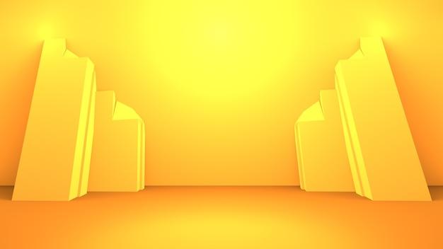 3d-wiedergabe des leeren gelben orange abstrakten minimalen hintergrunds. szene für werbedesign