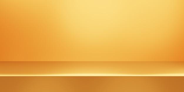 3d-wiedergabe des leeren minimalen hintergrunds des leeren goldabstrakten. szene für werbedesign