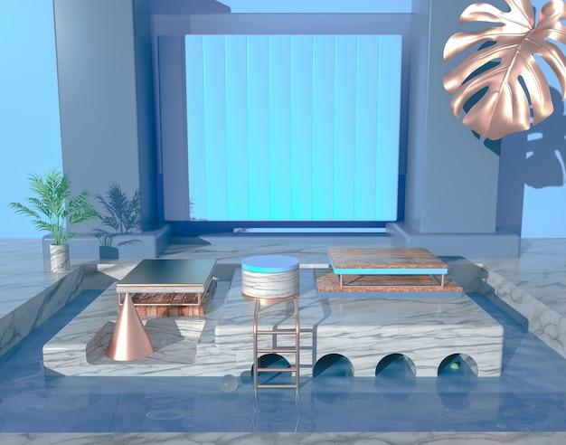 3d-wiedergabe des leeren raums des abstrakten hintergrunds mit podium