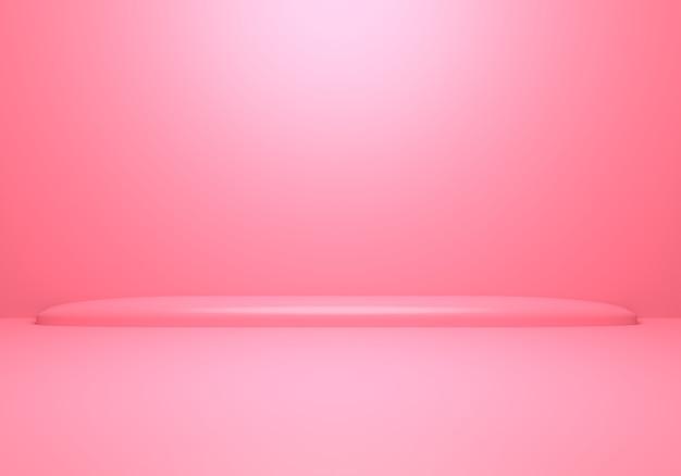 3d-wiedergabe des leeren rosa abstrakten minimalen konzepthintergrundes mit podium.
